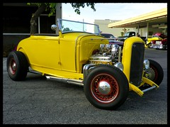 Yellow '32 Roadster (Dusty_73) Tags: auto california street cruise red hot classic ford car yellow night america 1932 vintage drive w small spoke wheels chevy american rod block custom rims sbc 32 aw visalia roadster in hiboy a