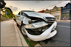power mayhem (Luke Tscharke) Tags: road door light ford car distorted crash accident taxi pedestrian bumper damage need insurance mangled coolant crumple australianflag footscray writeoff buckleyst lushaki