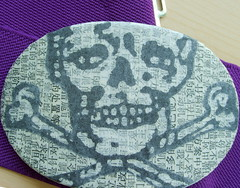 skeleton buckle/purple belt (lulu.voodoo.) Tags: collage skeleton belt handmade chinese recycle buckle skullandcrossbones