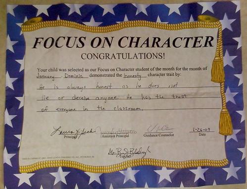Dominic's Character Award