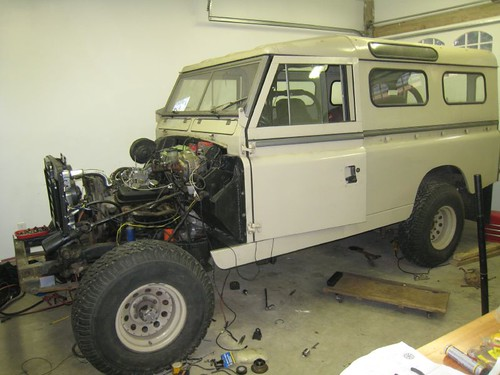 60s land rover body on 80s toyota chassis with 90s 43 chevy engine fenders off for easy access during engine swap publicscrutiny