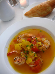 Grilled Shrimp in a Saffron broth with fennel