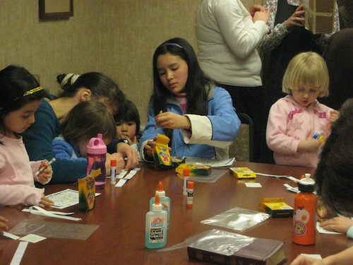 Making Crafts at Children's Bible Class