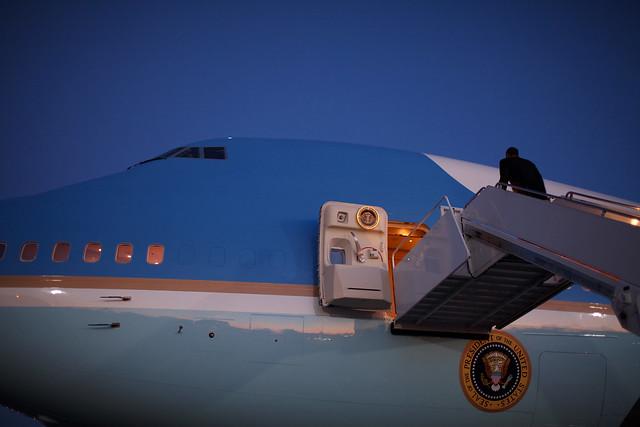 President Barrack Obama board Air Force One.