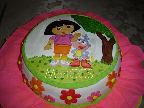 Dora the explorer fondant painted cake