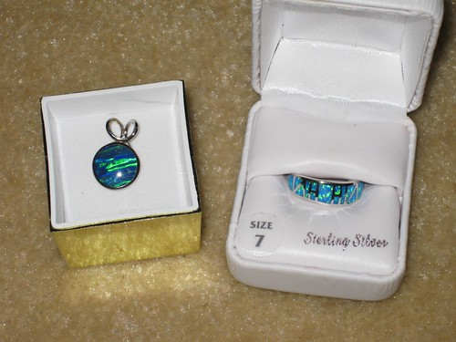 Australian opal pendant and ring