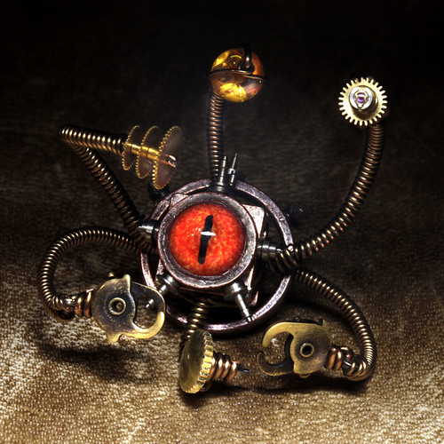 Steampunk Beholder Miniature robot sculpture - Daniel Proulx - Canada . : Steampunk Exhibition at The Museum of the History of Science, The University of Oxford, U.K.