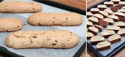 Biscottis à la fin de la première étape de cuisson