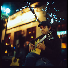 melody maker (jaxting) Tags: people tlr guitar santamonica iso 1600 busker pushed guitarist yashicad picker yashikor fujichromeprovia400xrxp 213stops