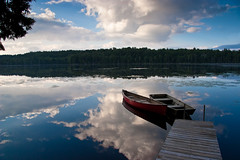 Reflections on McCauley Pond, Adriondacks (pa_cosgrove) Tags: lake water clouds landscape boat photo amazing pond group wideangle adirondacks canoneos20d canoe the canonefs1785mmf456isusm vosplusbellesphotos mccauleypond