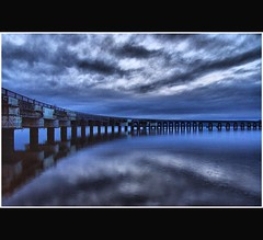 Cool Blue - Tay Rail Bridge - Dundee Scotland (Magdalen Green Photography) Tags: bridge reflection scotland riverside dundee scottish tayside hdr bluebridge coolblue tayrailbridge dsc0363 iaingordon picturesofdundee dundeephotography imagesofdundee dundeestockphotography printsofdundee