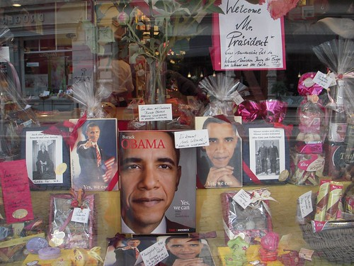 Germans like the Yes We Can message from Obama, as seen at the Viba Choclate Shop.