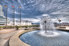 Vancouver in April (Scott.Webb) Tags: travel vacation canada fountain vancouver bc waterfountain hdr hdrphotography hdrtreatment vancouverhdr hdrcanada urbanhdr