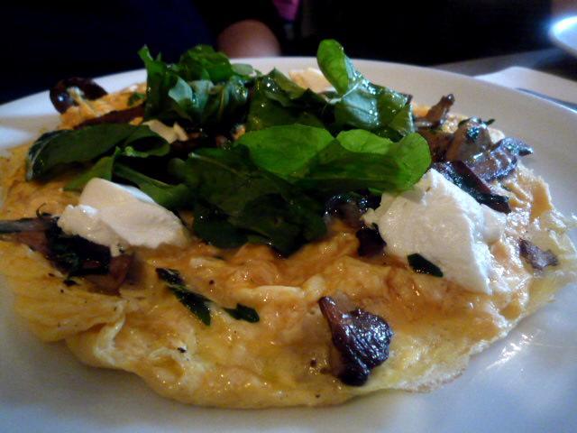 Wild mushroom open omelette