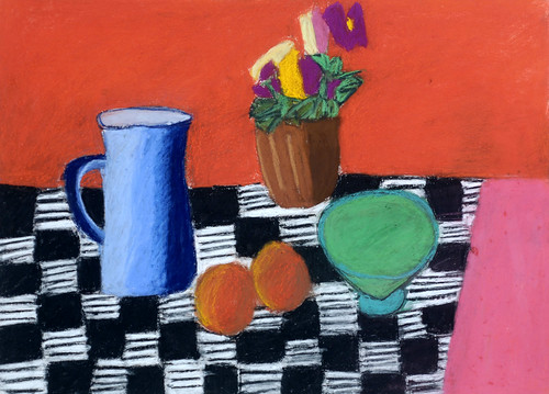 """Flowers with Checkered Cloth - pastel on paper 22"""" x 30"""" $1100"""