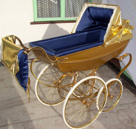 silver cross gold pram