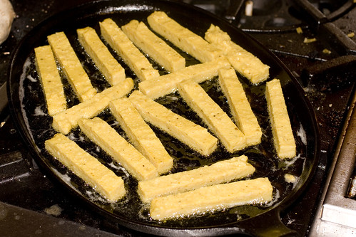 Frying Curry Chickpea Fries
