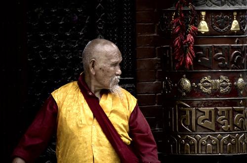 A Venerable Tibetan Lama At The Bodhnath
