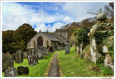 St. Brynach's Nevern (Autumnsonata) Tags: old trees light church nature beautiful beauty graveyard wales architecture landscape ancient path cemetary memories headstones graves churchyard pembrokeshire gravestones nevern stbrynachschurch