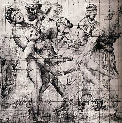 1507  Raphael    Studies for the EntomBibliothèque municipaleent, Modello forThe EntomBibliothèque municipaleent  Pen and brown Ink  28,9x29,8 cm  otam