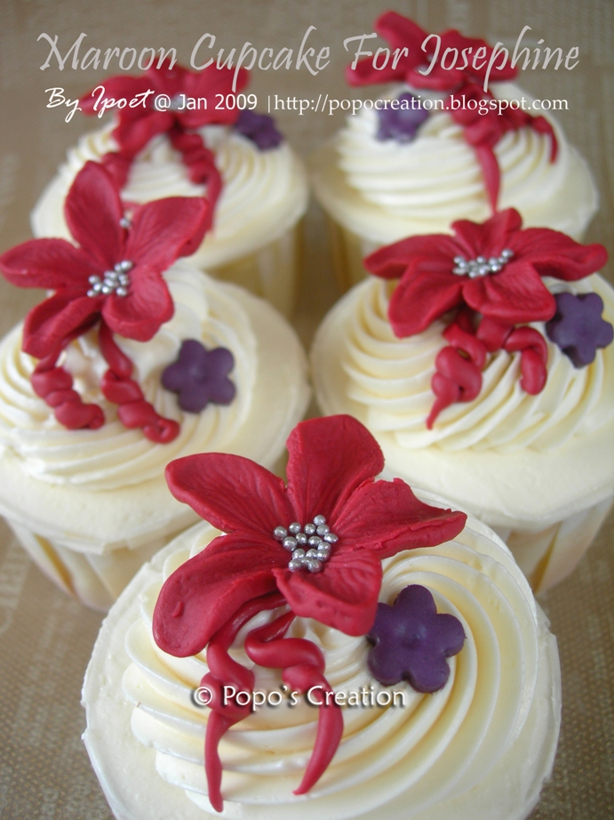 Wedding gift maroon cupcake