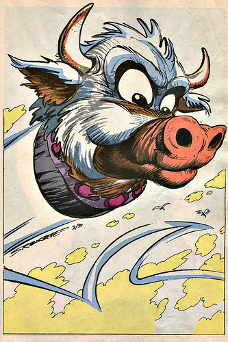 Mighty Mutanimals : INVASION FROM SPACE - Pin-up Gallery :: Cudley the Cowlick //  art by S.R. Bissette (( 1991 ))