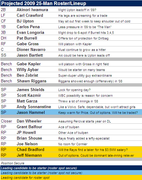 Projected 2009 Tampa Bay Rays 25-Man Roster