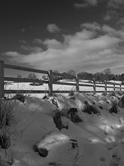 Fenced Out (Gallery North) Tags: trees sky blackandwhite snow nature grass clouds fence view natural awesome leeds fields lonely simple deserted aura enchanted lonliness rodley