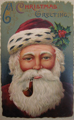 "Santa ""Bing"" Claus (Puzzler4879) Tags: santa christmas postcards santaclaus merrychristmas shiningstar musictomyeyes antiquepostcards pipesmoking christmasgreeting royalgroup diamondstars a580"