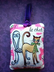 "Handmade Lavender ""Le Chat"" Sachet (Jane (on break)) Tags: pink cute green cat diy feline purple handmade lavender kitty handsewn etsy 2009 cutecat efa sachet lechat catlovers lavendersachet catcrafts 50sretro organiclavender etsyforanimals retroinspired janediamonddesigns veganetsy veganartist photocjanediamond catsachet cutecatsachet catatcafe catthemedscahet catwithbow sachetbyjanediamonddesigns"