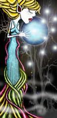 LA HADA QUE BESO A LA LUNA (planeta urazan) Tags: blue moon art noche magic luna nigth hada hadas magia cuentos duendes childrenillustration ilustracioninfantil cuentosparanios