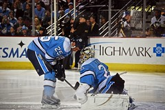 Talbot and Fleury between periods (Dave DiCello) Tags: city black game max ice hockey yellow gold nhl penguin penguins goalie team nikon pittsburgh zoom steel andre arena national marc rink civic stick puck intermission pens nikkor league stanleycup mellon igloo talbot fleury 200mm mellonarena civicarena sidneycrosby pittsburghpenguins d40 stanleycupchamps marcandrefleury nationalhockeyleague stanleycupchampions evgenimalkin theigloo d40x maximetalbot tylerkennedy pittsburghpens maxtalbot consolenergycenter 2009stanleycupchampions pittsburghpenguinsstanleycupchampionspictures civicarenapittsburghpa sidandgeno penguinhockeyteam mellonarenapittsburgh evad310 davedicello pittsurghpenguins stanleycuprings penguinsstanleycupring maxtalbotgame7