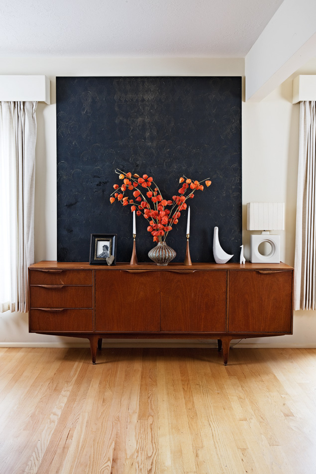 Credenza and black painting
