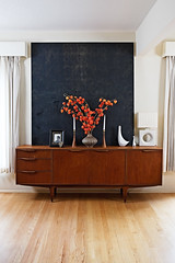 Credenza and black painting (ouno design) Tags: black magazine painting portland danish habitat monthly credenza midcenturymodern candlesticks