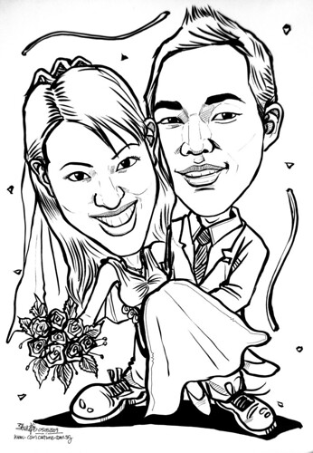 couple wedding caricatures 040509