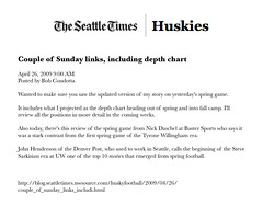 04.26.09 - Seattle Times Blog (bustersports) Tags: rome college fan acc media state fark volunteers sportsillustrated gators seminoles duke huskies arena gameday national longhorns tigers lions tailgate conference buster sucks rosebowl coed sec ncaa buckeyes bulldogs chapelhill unc rivals cbs trojans espn wolfpack sugarbowl bcs tarheels gamecocks wildcats wolverines orangebowl insider collegebasketball deacons jayhawks recruit fiestabowl cavaliers tipoff firestarter spartans sportscenter finalfour big10 big12 bigeast pac10 wfan studentsection davenathan danballard bustersports