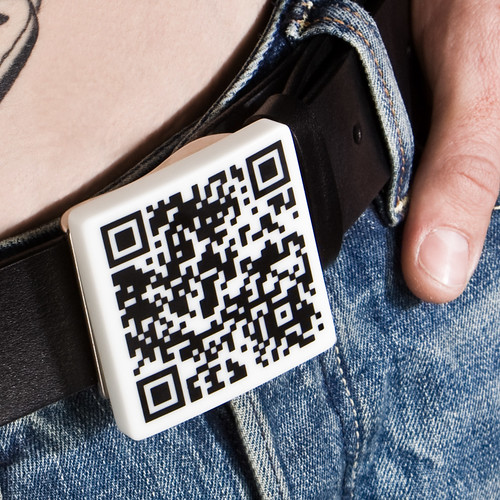 QR Barcode belt buckle from Fluid Forms.