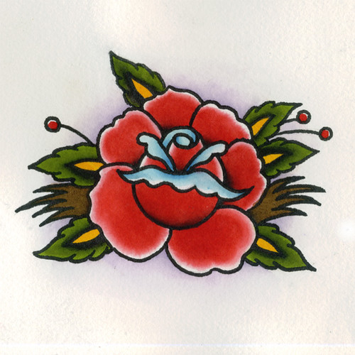 Traditional Rose Tattoo Flash