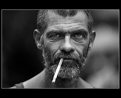 (* raymond) Tags: nyc portrait blackandwhite bw signs newyork man beard cigarette superfantastique unionsquare theface unionsquarepark supershot