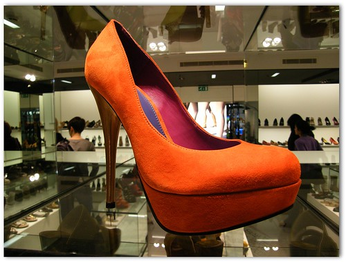 Luxury shoes candid @ Kurt Geiger store in Canary Wharf London