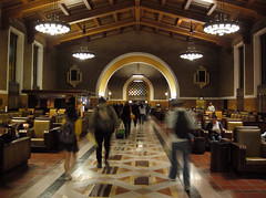 Inside Union Station in Los Angeles at Night, Returning Home From Trip (Robb Wilson) Tags: flowers roses cactus californiamissions sanjuancapistrano kartpostal kubrickslook californianativeamericans oldcaliforniamissions