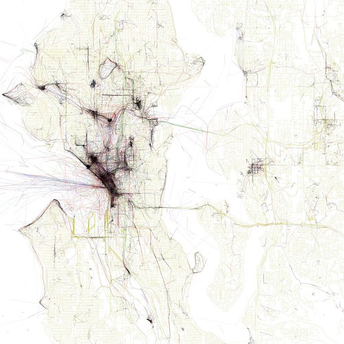 Geotaggers' map of Seattle, compiled by Eric Fisher