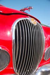Red Jaguar Mark 1: View up at the chrome jaguar leaping off the hood/bonnet (Chris Devers) Tags: red two window car boston ma brighton mark massachusetts chrome 1958 1957 british jaguar bostonma 2009 42 samuels sportscar 1959 allston markii britishcar marki mark1 allstonma jaguaretype markone brightonma jaguarmarkii cameranikond50 marktwo jaguaretype42 etype42 exif:exposure_bias=0ev exif:exposure=0001sec1800 exif:focal_length=22mm lens18200vr exif:flash=noflash exif:aperture=f38 camera:make=nikoncorporation jaguarmarki jaguarmarktwo jaguarmark1 jaguarmarkone samuelsjaguar samuelsjaguarmotors samuelsjaguarmotorsltd camera:model=nikond50 meta:exif=1274469108 exif:orientation=rotate90cw exif:lens=18200mmf3556 exif:filename=dscjpg exif:shutter_count=44016 meta:exif=1350398272