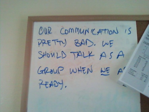 Our communication is pretty bad. We should talk as a group when WE are ready.