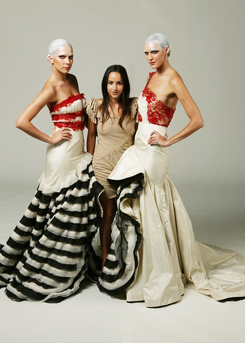 FIDM Fashion Designer, Natalia Romano with her couture gowns inspired by Tweedledee and Tweedledum