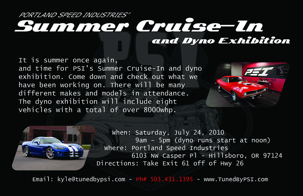 PSI's Summer Cruise-In and Dyno Exhibition Back