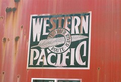 Western Pacific Railroad logo promoting the Feather River Route. From the internet.