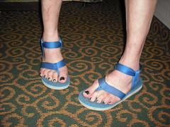 (2moshoes) Tags: blue man male men feet fun him inch toes toe legs sandals nail polish ring thong thongs strap nailpolish toering sandal strappy toerings thongsandals backstrap manfeet manglaze