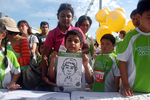 caricature live sketching for Cold Storage Kids Run 2010 -c