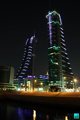 The Bahrain Financial Harbour at night 1 (justDONQUE.images) Tags: reflection building water architecture night skyscraper island lights bahrain towers middleeast landmark commercial twintowers offices gcc finance kingdomofbahrain bahrainfinancialharbour garbongbisaya dunzki